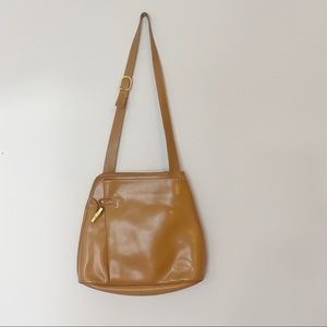 LONGCHAMP brown leather Roseau bucket bag